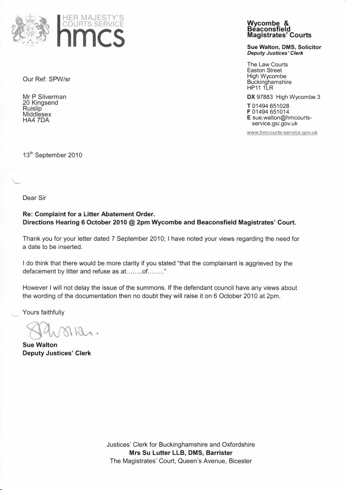 Letter from wycombe magistrates court clean highways for Character reference letter template for court uk